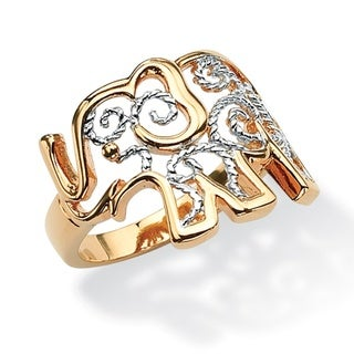 PalmBeach 18k Gold-Plated Two-Tone Elephant Ring Tailored