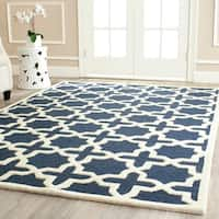 Safavieh Handmade Moroccan Cambridge Geometric Navy Blue/ Ivory Wool Rug - 10' x 14'