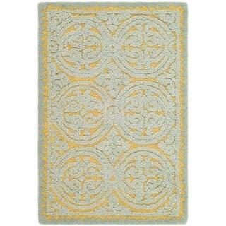Safavieh Handmade Moroccan Cambridge Blue/ Gold Wool Rug (2' 6 x 4')