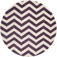 Safavieh Handmade Moroccan Chatham Purple/ Ivory Wool Rug - 9' Round