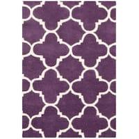 Safavieh Handmade Moroccan Chatham Purple/ Ivory Wool Rug - 3' x 5'