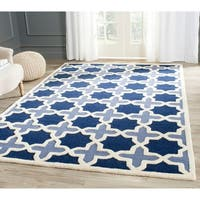 Safavieh Handmade Moroccan Cambridge Light Blue/ Ivory Wool Rug (10' x 14')