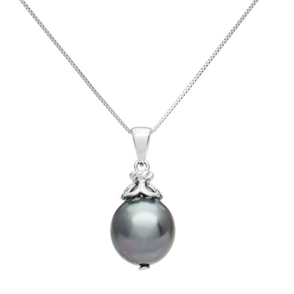 Pearlyta 14k White Gold Black Tahitian Drop Pearl Pendant Necklace (10 - 11 mm)