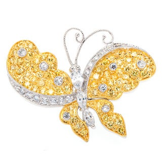 Golden Butterfly Cubic Zirconia and Citrine Brooch