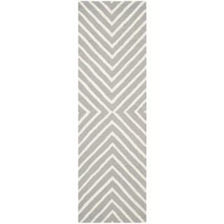 "Safavieh Handmade Moroccan Cambridge Silver/ Ivory Wool Rug (2' 6 x 14') - 2'6"" x 14'"