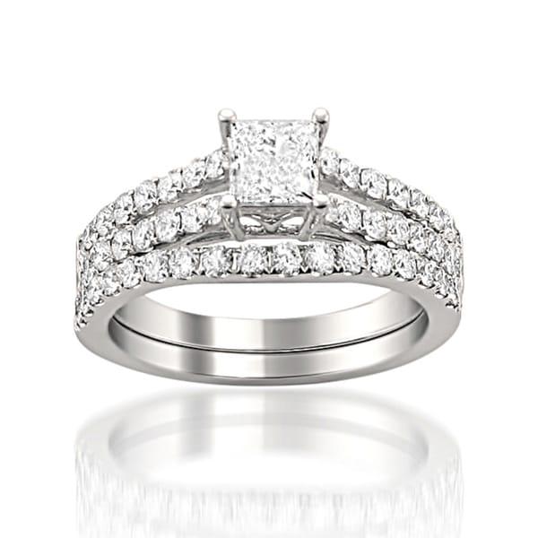 Montebello 14k White Gold 1 1/2 Ct TDW Princess Cut Split Shank Bridal Set (H-I, SI2-I1)