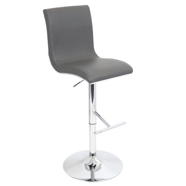 Porch & Den Tower Modern Adjustable Barstool with Faux Leather