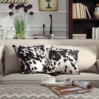 1ad24be35629e Black and White Faux Cow Hide Print Decorative Pillows (Set of 2) by iNSPIRE
