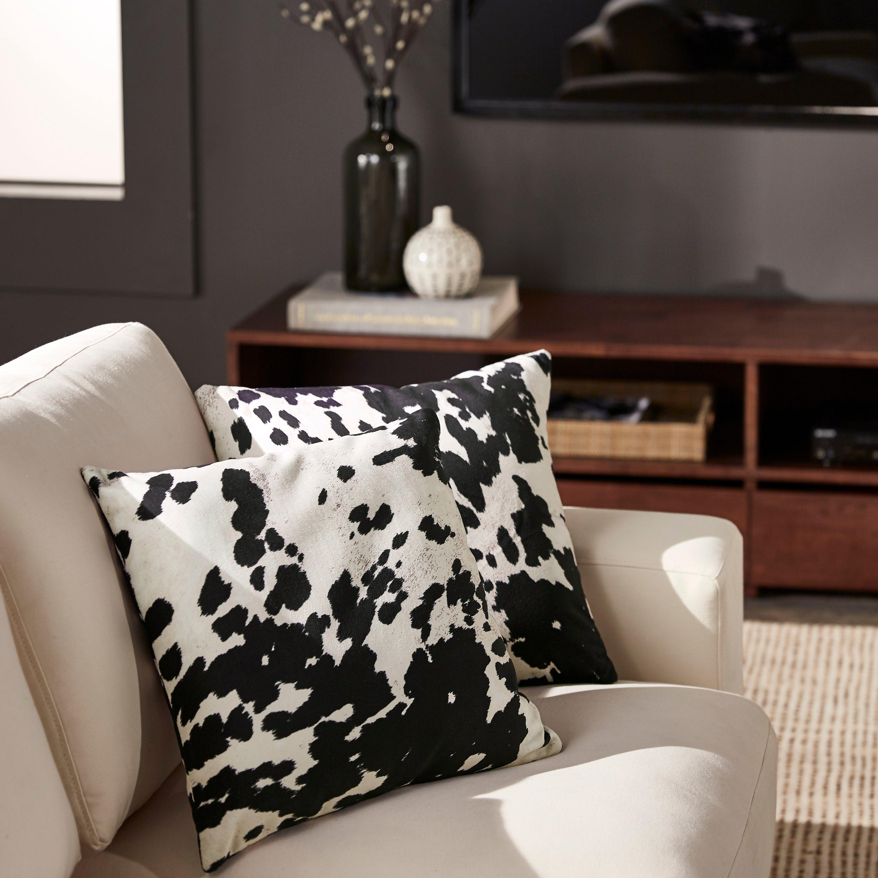 Black and White Faux Cow Hide Print Decorative Pillows (S...