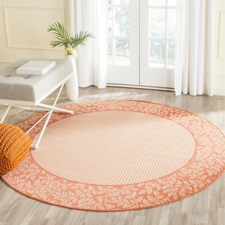 Safavieh Power-Loomed Indoor/ Outdoor Courtyard Natural/ Terra Rug (7' 10 x 7' 10 Round)