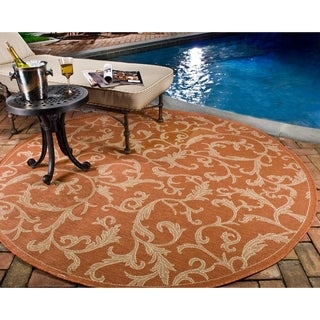 "Safavieh Indoor/Outdoor Courtyard Terracotta/Natural Area Rug (7'10"" Round)"
