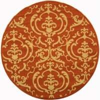 "Safavieh Bimini Damask Terracotta/ Natural Indoor/ Outdoor Rug - 7'10"" x 7'10"" Round"