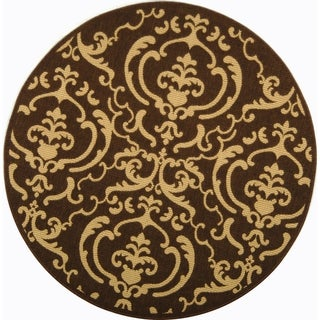 Safavieh Bimini Damask Chocolate/ Natural Indoor/ Outdoor Rug (7'10 Round)