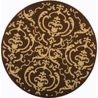 Safavieh Bimini Damask Chocolate/ Natural Indoor/ Outdoor Rug (7'10 Round)