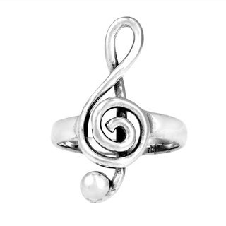 Handmade Musical Note Sterling Silver Ring (Thailand)