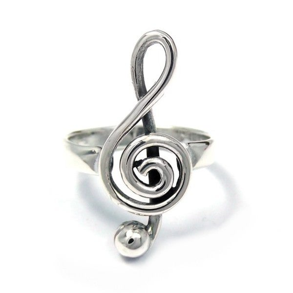 Handmade Sterling Silver Raised Treble Clef Musical Note Ring (Thailand)