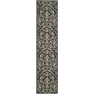 "Safavieh Bimini Damask Black/ Sand Indoor/ Outdoor Runner Rug (2'4"" x 14')"