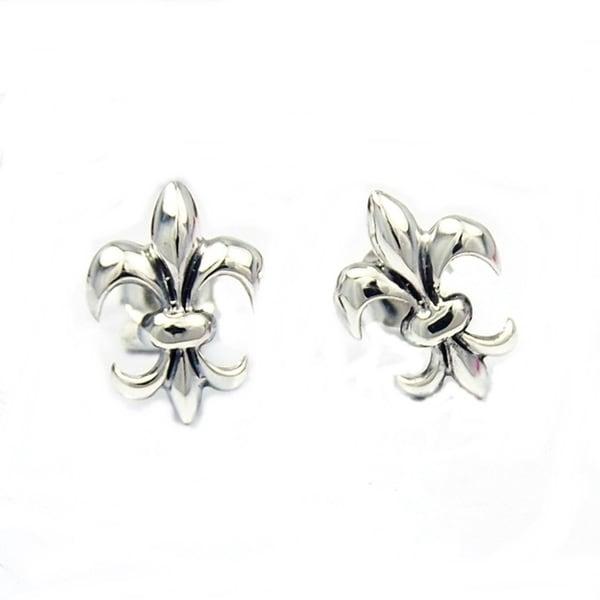 Handmade Sterling Silver Chic Fleur de Lis Inspired Stud Earrings (Thailand)