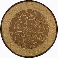 Safavieh Oasis Scrollwork Brown/ Natural Indoor/ Outdoor Rug - 7'10 Round