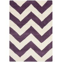 Safavieh Handmade Moroccan Chatham Purple/ Ivory Wool Rug - 2'3 x 5'