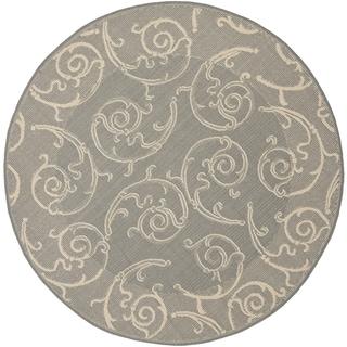 "Safavieh Oasis Scrollwork Grey/ Natural Indoor/ Outdoor Rug (7'10"" Round)"