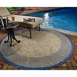 Safavieh Oasis Scrollwork Natural/ Blue Indoor/ Outdoor Rug (7'10 Round)