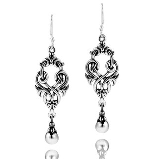 Handmade Exquisite Celtic Knots Ball Drop Sterling Silver Earrings (Thailand)