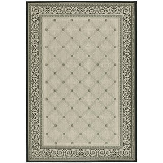 Safavieh Bay Sand/ Black Indoor/ Outdoor Rug (9' x 12')