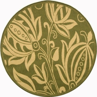 """Safavieh Contemporary Indoor/Outdoor Courtyard Olive/Natural Rug (7'10"""" Round)"""