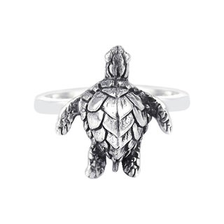 Handmade Sterling Silver Serene Sea Turtle Attention Ring (Thailand)