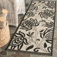 "Safavieh Andros Sand/ Black Indoor/ Outdoor Rug - 2'4"" x 14'"