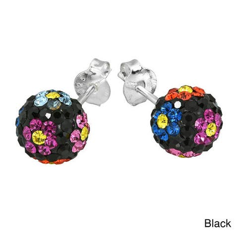 Handmade Silver Sweet Daisies Cubic Zirconia Stud Earrings (Thailand)