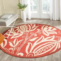 Safavieh Andros Red/ Natural Indoor/ Outdoor Rug (7'10 Round) - 7'10