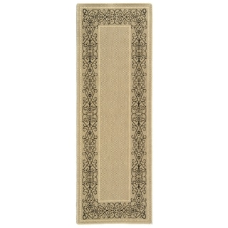 Contemporary Safavieh Indoor/Outdoor Courtyard Sand/Black Rug (2' 4 x 14')