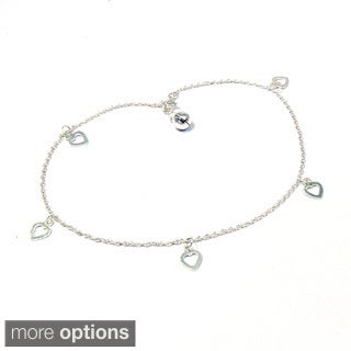 Handmade Sterling Silver Charming Hearts Dangle Jingle Bell Anklet (Thailand)