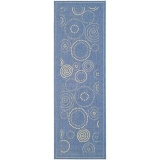 Safavieh Ocean Swirls Blue/ Natural Indoor/ Outdoor Rug (2' 4 x 12')