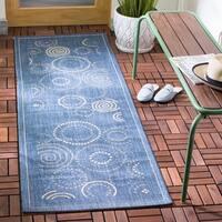 """Safavieh Ocean Swirls Blue/ Natural Indoor/ Outdoor Rug - 2'4"""" x 12'"""