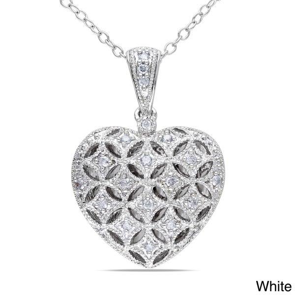Miadora Silver 1/6ct TDW Diamond Heart Locket Necklace