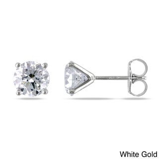 Miadora Signature Collection 14k Gold 2ct TDW Certified Round Diamond Stud Earrings
