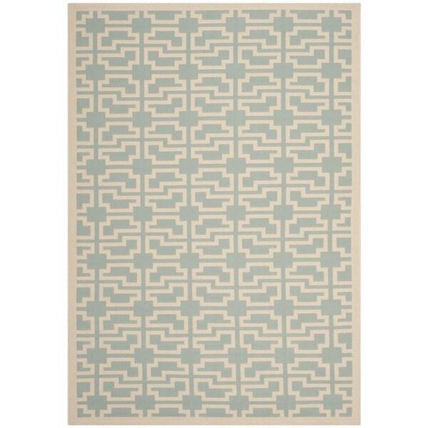 Safavieh Courtyard Geometric Blue/ Beige Indoor/ Outdoor Rug (5'3 x 7'7)