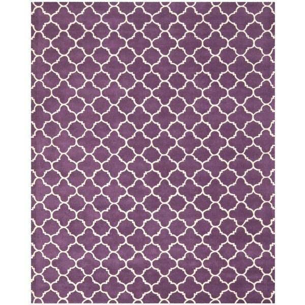 Safavieh Handmade Moroccan Chatham Purple/ Ivory Wool Rug (8' 9 x 12')