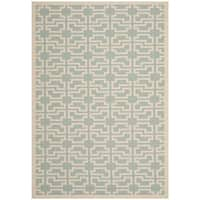 Safavieh Courtyard Geometric Blue/ Beige Indoor/ Outdoor Rug (8' x 11') - 8' x 11'