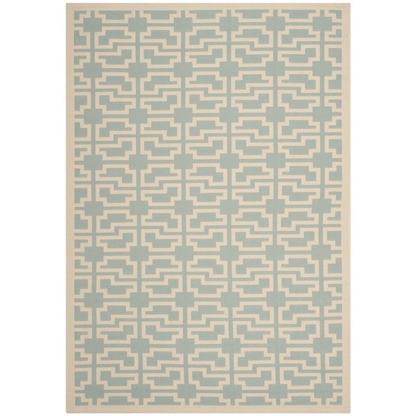 Safavieh Courtyard Geometric Blue/ Beige Indoor/ Outdoor Rug - 8' x 11'