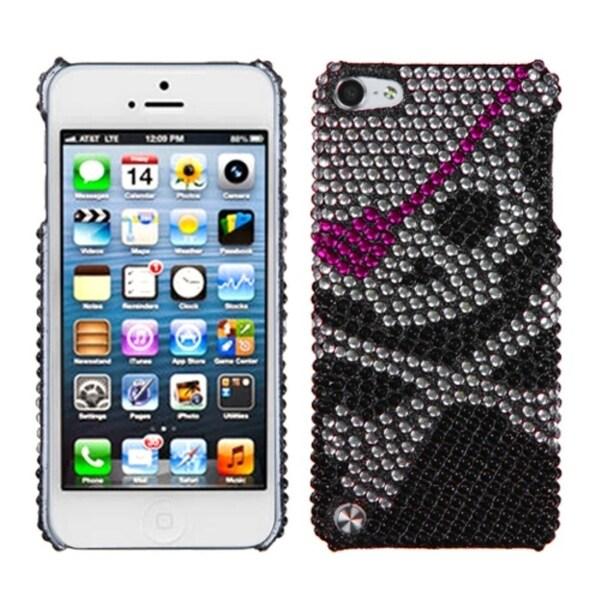 Insten Black/ Silver Skull Hard Snap-on Diamond Bling Case Cover For Apple iPod Touch 5th/ 6th Gen