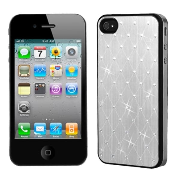 INSTEN Silver Studded Back Plate Phone Case Cover for Apple iPhone 4S/ 4