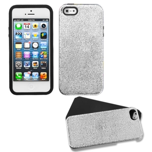 INSTEN Silver Wrinkle/ Black Fusion Phone Case for Apple iPhone 5/ 5S/ SE