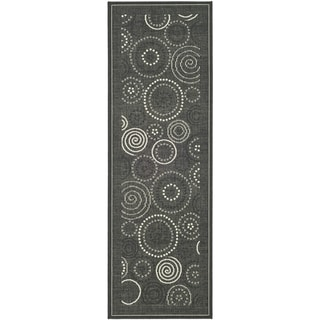 Safavieh Ocean Swirls Black/ Sand Indoor/ Outdoor Rug (2' 4 x 12')