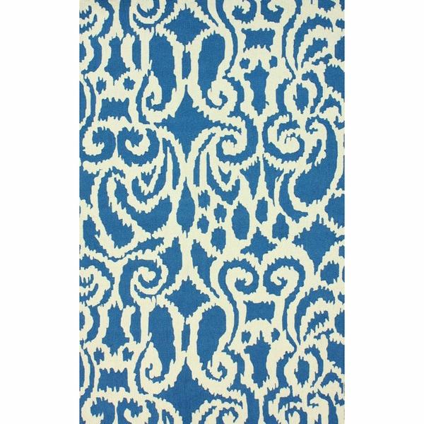nuLOOM Handmade Damask Ikat Blue Wool Rug - 6' x 9'