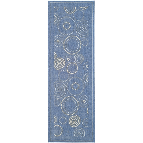 Safavieh Ocean Swirls Blue/ Natural Indoor/ Outdoor Rug - 2'4 x 14'