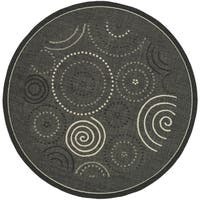 Safavieh Ocean Swirls Black/ Sand Indoor/ Outdoor Rug - 7' 10 Round